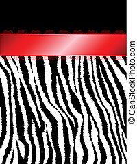 czerwony, pasy, zebra, wstążka, &
