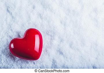 czerwony, połyskujący, serce, na, niejaki, mroźny, biały...