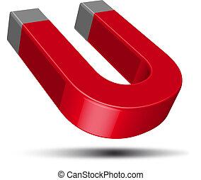 czerwony, podkowa magnet