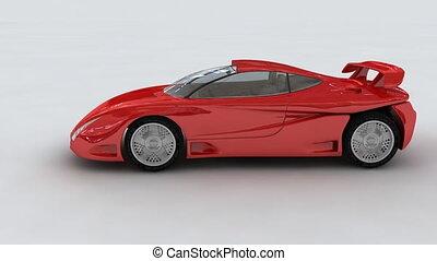 czerwony, pojęcie, ma na sobie wóz