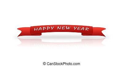 czerwony, powitanie, taśma, z, przedimek określony przed rzeczownikami, napis, nowy rok, białe tło, odbicie