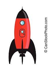 czerwony, przestrzeń, rysunek, rakieta