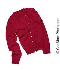 czerwony, pulower, odizolowany, na białym, tło
