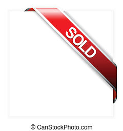 czerwony, róg, wstążka, dla, sprzedany, pozycje