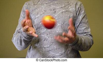czerwony, ręka, jeden, dzierżawa, jabłko, człowiek