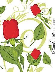 czerwony, roses., dekoracyjny, tło