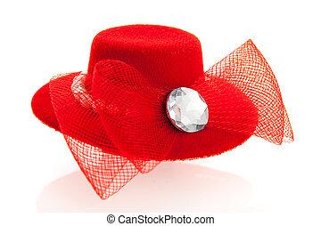 czerwony, samica, kapelusz
