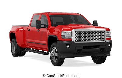 czerwony samochód, odizolowany, pickup