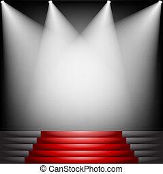 czerwony, schody, dywan