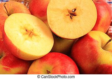 czerwony, soczysty, jabłka, piękny
