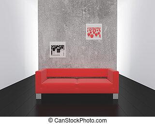 czerwony, sofa, na, czarnoskóry, do, niejaki, podłoga