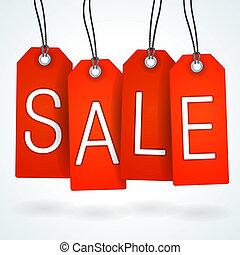 czerwony, sprzedaż, etykieta, komplet