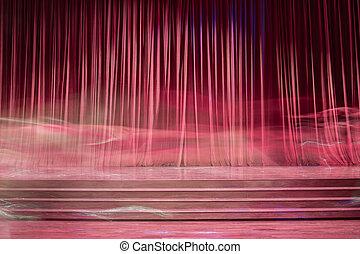czerwony, stage., stary, firanki
