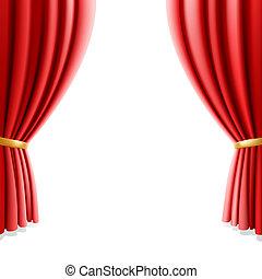 czerwony, teatr, kurtyna, na białym