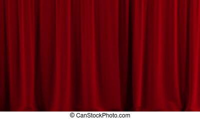 czerwony, teatr, kurtyna, open.