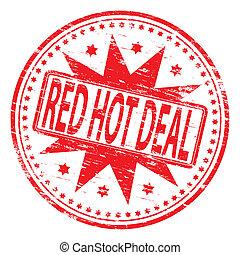 czerwony, transakcja, tłoczyć, gorący