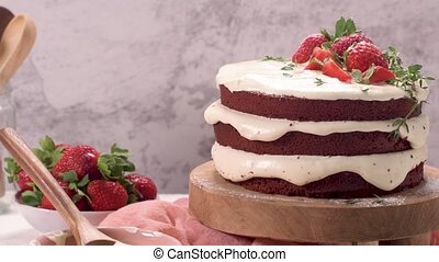 czerwony, truskawki, aksamit, ciastko