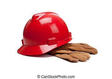 czerwony, twardy kapelusz, i, skóra, pracować rękawiczki, na białym
