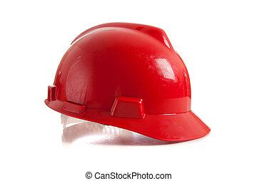 czerwony, twardy kapelusz, na białym