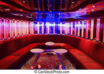 czerwony, vip, klub, wewnętrzny, z, beautifull, oświetlenie