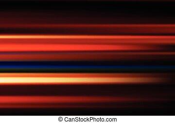 czerwony, wektor, abstrakcyjny, szybkość, plama ruchu, od, noc, światła, w mieście, długa ekspozycja, tło