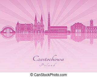 Czestochowa skyline in purple radiant orchid