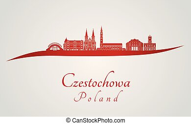 Czestochowa skyline in red
