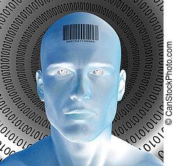 czoło, barcode, człowiek