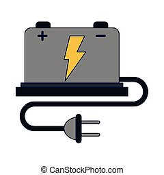 czop, bateria, drut, elektryczny wóz