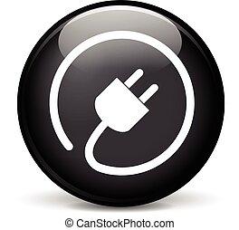czop, elektryczny, ikona