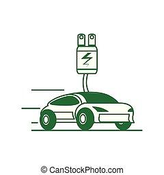 czop, przewóz, elektryczny wóz, energia, sedan