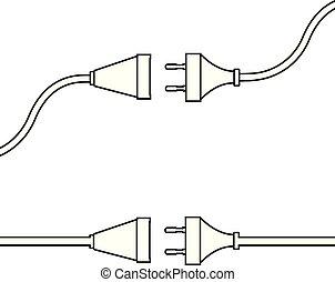 czop, socket., pojęcie, electricity., połączenie, drut, odłączenie