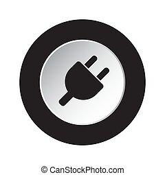 czop, symbol, -, elektryczny, czarnoskóry, biały, okrągły, ikona