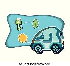 czop, wóz, energia, elektryczny, ikony