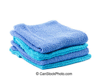 cztery, błękitny, aqua, ręczniki