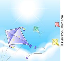 cztery, barwny, latawce, w, przedimek określony przed rzeczownikami, niebo