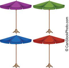 cztery, barwny, parasole
