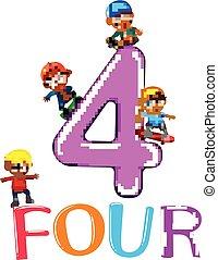 cztery, cielna, dzieciaki, liczba, interpretacja