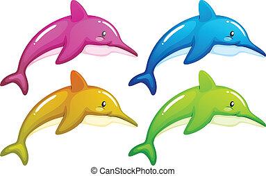 cztery, delfiny