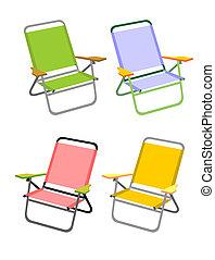 cztery, krzesła, plaża