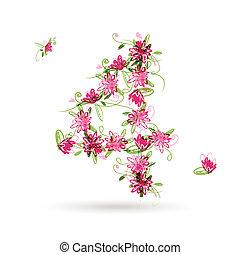 cztery, kwiatowy zamiar, liczba, twój