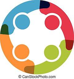 cztery, logo., koło, grupa, ludzie