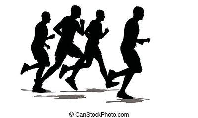 cztery, mężczyźni, sportowiec, run.
