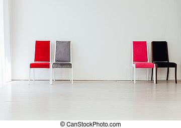 cztery, opróżniać, biały, wewnętrzny, krzesła, pokój