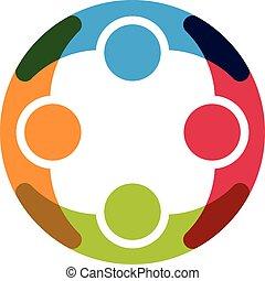 cztery osoby, grupa, logo., ludzie
