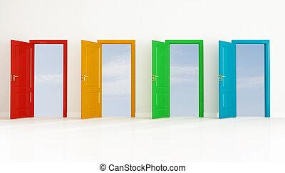 cztery, otwarte drzwi, barwny