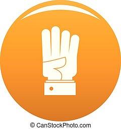 cztery, pomarańcza, wektor, ręka, ikona