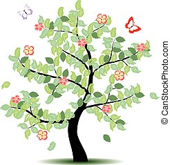 cztery, pora, -, drzewo, lato