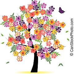 cztery, pora, -, drzewo, wiosna