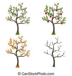cztery pory, sztuka, drzewa